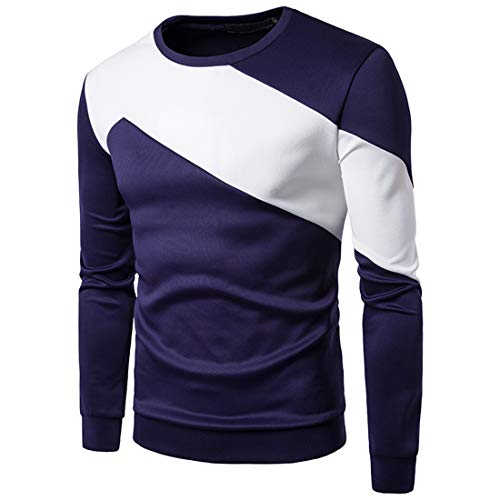 Yczx Mens Sweatshirt Long Sleeves Casual Jumper Sweater Pullover Work Casual Sweatshirt Tops Modern Sporty Classic Men Sweatshirts Round Neck Long Sleeve Sweat Shirt Patchwork T-Shirt M