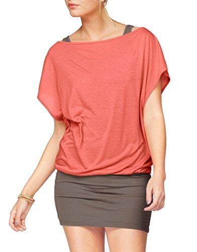 Jusfitsu Damen Ohne Arm Kleid Aus Oversize Shirt 2-in-1(Set 2 tlg) Sommer Minikleid Standkleid Koralle-Taupe L