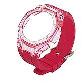 LGFCOK 2021 NUOVO GA2100 3 ° Modificato Accessori Strap GA-2100 Gen3 Custodia trasparente+cinturino in gomma per Casio G-SHOCK GA2100 (colore cinturino: Tran rosa, larghezza di banda: Per GA2100)