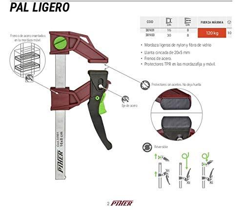PIHER - Ganascia Leggera in Nylon e Fibra di Vetro, Colore: Rosso