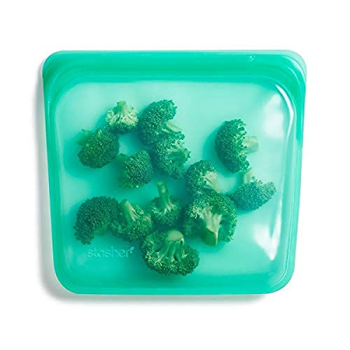 Stasher Platinum Silicone Food Grade Reusable Storage Bag,Jade (Sandwich) | Reduce Single-Use Plastic | Cook, Store, Sous Vide, or Freeze | Leakproof, Dishwasher-Safe, Eco-friendly |28 Oz