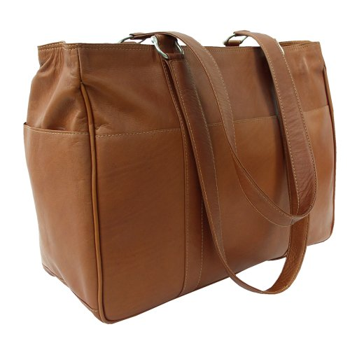 Piel Leather Medium Shopping Bag, Saddle, One Size