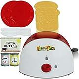 TW24 Kinder Spielzeug Toaster Set Frühstücksset 10 TLG. Küchenzubehör Toastscheiben Butter Honig Marmelade Spielküche Küchenspielzeug