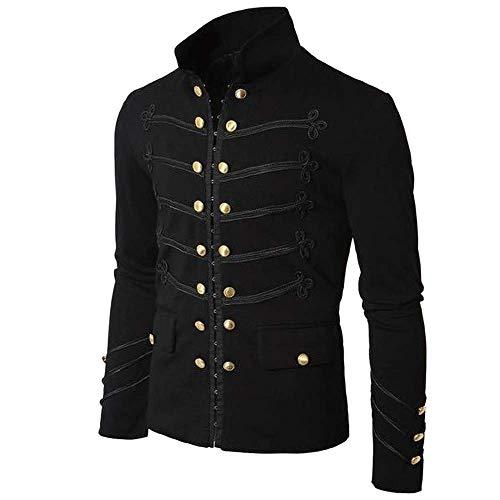 BIRAN-5 Camisa de Hombre Slim Fit Jacket Único Gothic Retro Frock Coat...