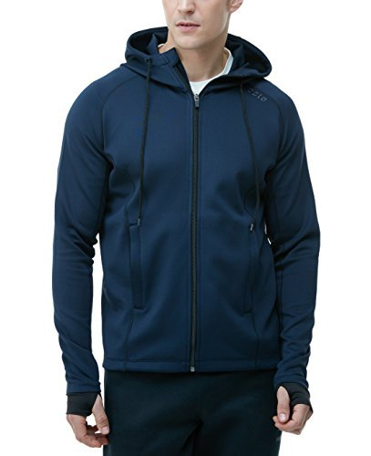 Tesla TM-MKJ01-NVY_Large Men's Performance Active Training Full-Zip Hoodie Jacket MKJ01