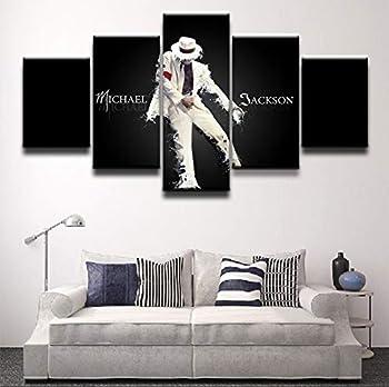 qingyuge 5 Panels Canvas Wall Art Artwork 5 Panel Canvas Printed Michael Jackson Poster Painting Modern Decorative Home Decor Wall Art Modular Pictures Frameless