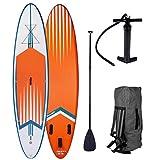 BRAST Stand up Paddle Gonflable Adulte Rigide Pro Orange 10'6 20psi 120kg 15cm épaisseur Drop Stitch Kit Complet – Planche Gonflable Sup 320x76x15cm