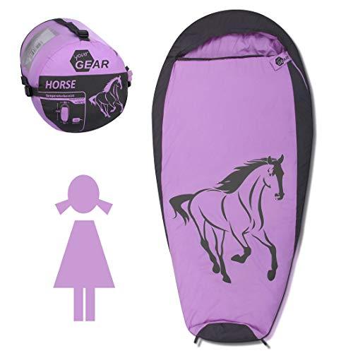 your GEAR Kinderschlafsack Horse Mumienschlafsack 180x90 cm komfortabler Sommerschlafsack 300 g/m² Rosa Grau extra warm