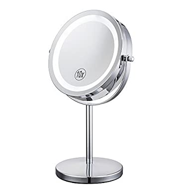 Lighted Makeup Mirror - 7  LED Vanity Mirror 10x Magnification Two-Sided Cosmetic Table Mirror Polished Chrome ALHAKIN