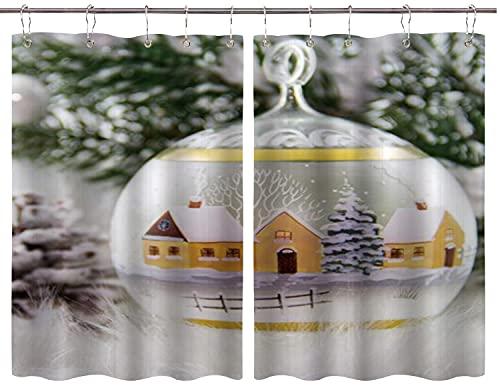 BOKEKANG Cortinas para Ventana de Cocina,Valla de Granja Pino Dentro de Bola de Cristal Rústico País Navidad,Cortina Corta para Cocina Decoración de Ganchos para Baño,Pack 2,140x100cm