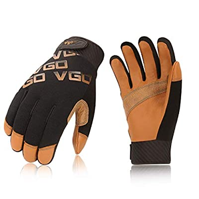 Vgo 2Pairs High Dexterity Light Duty Mechanic Glove,Rigger Glove(Anti-abrasion, Brown, GA9603)