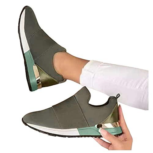 Winging Zapatos Casuales Moda Cuñas Con Cordones Transpirables Zapatillas Deporte Ocio Al Aire Libre Calzado De Mujer Casual Suela Gruesa Color Sólido Aumentado Deportivo
