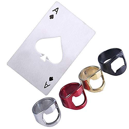 ZEEREE (5 pièces) Acier Inoxydable Carte Poker/Doigts Ronds/Décapsuleur,pour Boissons à la bière,Barres de Cadeaux créatives, Accessoires pour la Maison,