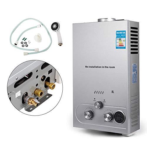 FlowerW 8L-LPG Gas-Warmwasserbereiter Durchlauferhitzer Gas Verflüssigt 16KW LED Bildschirm(8L-LPG)