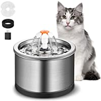 GOWEDNG Cat Water Fountain Stainless Steel 84oz/2.5L Large Capacity Ultra-Quiet Pump with LED Light