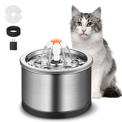 GOWEDNG Cat Fountain Stainless Steel 84oz/2.5L Large Capacity Ultra-Quiet Pump with LED Light,Suitable Three Ways to Drink,Automatic Drinking Fountain for Cats and Dogs