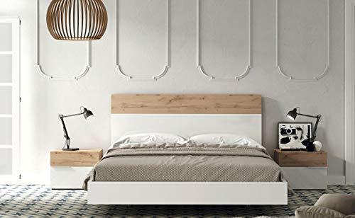 KITKAY Dormitorio Matrimonio Xenia 135x190 cm. cabecero con bancada y 2 mesillas Lacado Blanco Brillo/Natural