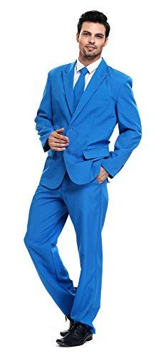U LOOK UGLY TODAY Men's Party Suit Solid Color Bachelor Party Suit-Medium Blue