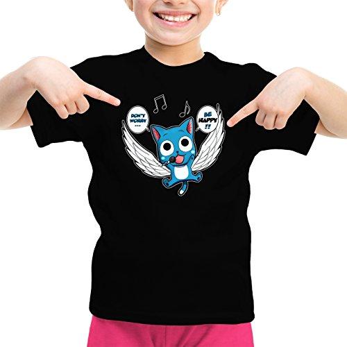 Okiwoki T-Shirt Enfant Fille Noir Fairy Tail parodique Happy : Don't Worry. Be Happy !! (Parodie Fairy Tail)