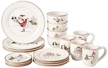 American Atelier Christmas Twig 20 Piece Dinnerware Set Cream - V215-20-SET