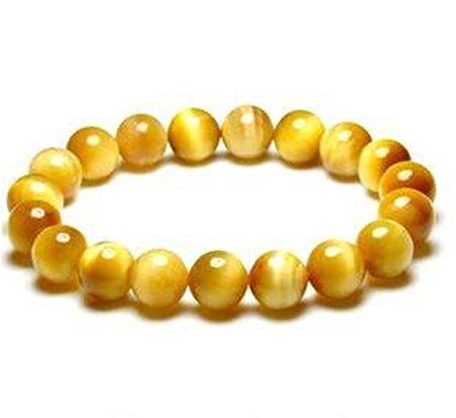 10mm auténtica piedra oro amarillo de ojo de tigre natural redondo pulsera de cuentas