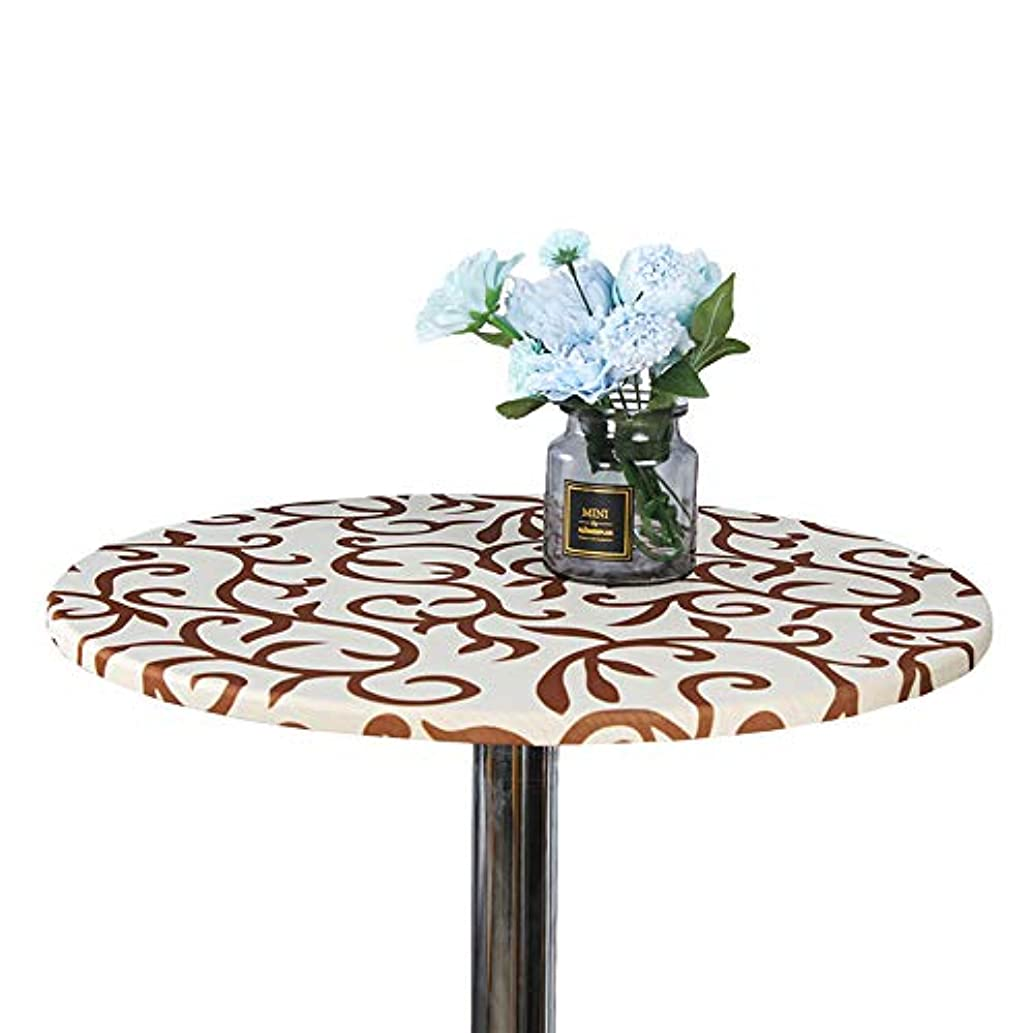 JISEN Cocktail Spandex Round Tablecloth Fitted Stretchable Table Cap 24 Inch Champagne with Brown1