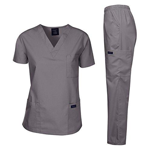 Dagacci Scrubs Medical Uniform Women and Man Scrubs Set Medical Scrubs Top and Pants, Petwer Gray, X-Small