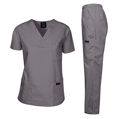 Dagacci Scrubs Medical Uniform Women and Man Scrubs Set Medical Scrubs Top and Pants, Petwer Gray, XXX-Large