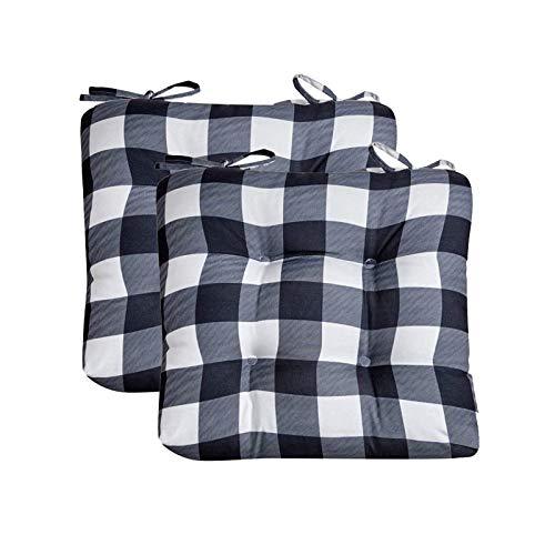 WHZG Cojin Silla Almohadillas de silla de 2 paquetes, cojín de silla de algodón cuadrado con corbatas Soft Fleen School Pads para el hogar, interior, oficina o uso de autos, búfalo Comprobar negro 15.