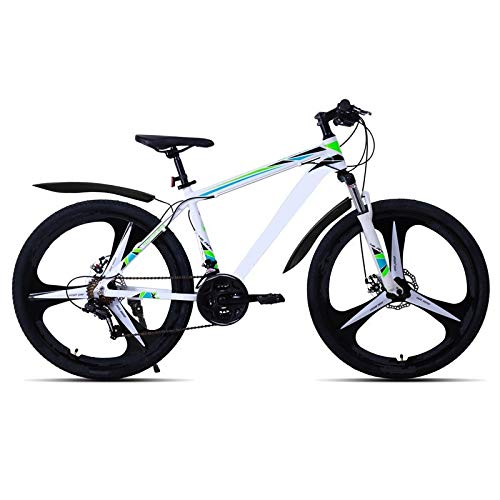 berglink 26 Inch 21 Speed Aluminum Alloy Suspension Bike, Double Disc Brake Mountain Bike Bicycle White spoke wheel