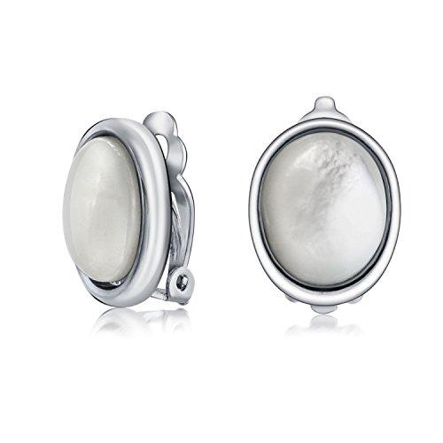 Grundlegende Ovale Weiße Mop Lünette Einstellen Dome Button Stil Clip Auf Ohrringe Für Frauen Nicht Durchbohrt Ohren Silber Vergoldet Messing