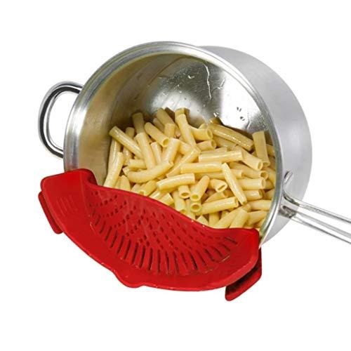 Handige siliconen trainer-clip op Pan Strainer voor het aftappen van Pasta, Vet, Groente, Fruit, Rice ect. Universeel formaat