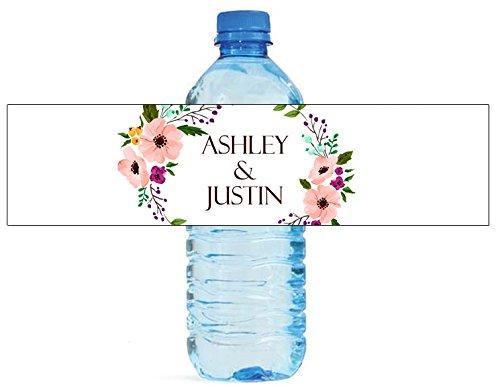 "100 Floral Wreath Wedding Water Bottle Labels Engagement Party 8""x2"""