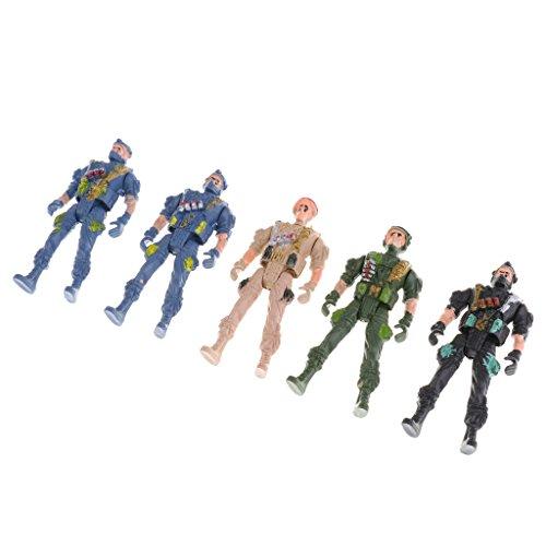 Gazechimp 5pcs/ Set Kunststoff 9cm Fallschirmjäger Action Figur Mit Fallschirm Spielzeug, Armee Soldaten mit beweglichen Köpfen, Armen und Beinen