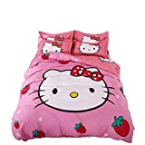 Papa&Mima Japanese Pink Hello Kitty Strawberry Girls Duvet Cover Set - Polyester - Duvet Cover,Flat Sheet,Pillow Cases - Hypoallergenic (Twin63x82inch)