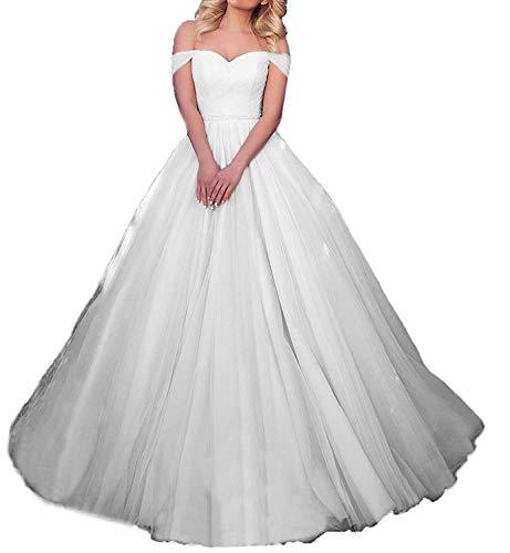 Brautkleid Lang Hochzeitskleider Damen Prinzessin Ballkleider Abendkleider Tüll Herzausschnitt A-Linie Elfenbein EUR46
