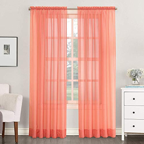 """SALLY TEXTILES INC Set of 2 Sheer Voile Curtain Panels, Rod Pocket Top, 84"""" Long (Coral)"""