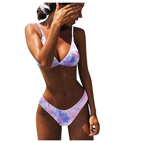 Bikini para mujer 2021, aspecto envolvente, con lazo, diseño de flores, traje de baño de dos piezas (lila, talla S)