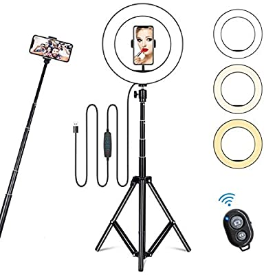 """10"""" Selfie Ring Light with Tripod Stand & Cell Phone Holder for Live Stream/Makeup, Dimmable Led Camera Ring Light for YouTube Video/Photography Compatible with iPhone & Android Phones (Upgraded) by KINGOAL"""