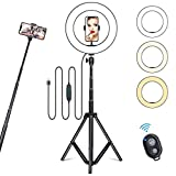 10' Selfie Ring Light with Tripod Stand & Cell Phone Holder for Live Stream/Makeup, Dimmable Led Camera Ring Light for YouTube Video/Photography Compatible with iPhone & Android Phones (Upgraded)