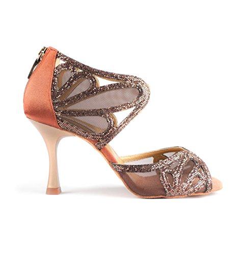 PortDance Mujeres Zapatos de Baile PD808 Pro Premium - Satin/Glitter Bronze - 7 cm Flare [EUR 36]