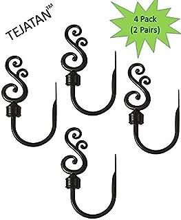 TEJATAN - Curtain Holdbacks for Draperies - Black (Curtain tiebacks Hook, Curtain tieback Hooks for Curtains) (2 Pack (2 Pairs))