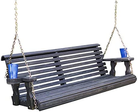 Treated Porch Swing with Cupholders Cedar Stain Amish Heavy Duty 800 Lb Roll Back 4ft