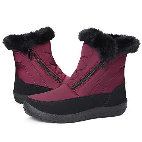 gracosy Botas Nieve Mujer de Piel Invierno Planos Cremallera Zapatos Antideslizante...
