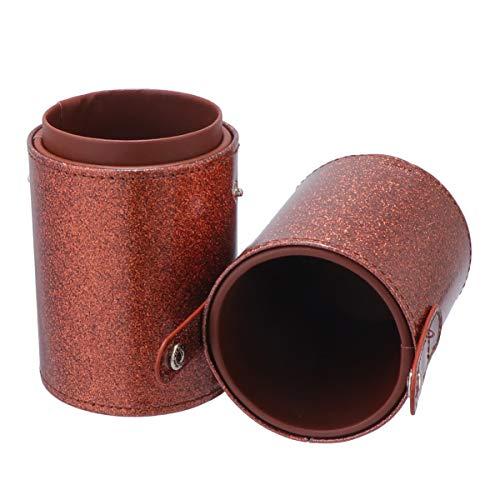 Cabilock porte-pinceau de maquillage pu cuir voyage cosmétique étui sac étanche à la poussière boîte de rangement boîte seau papeterie stylo porte-crayon (m café)