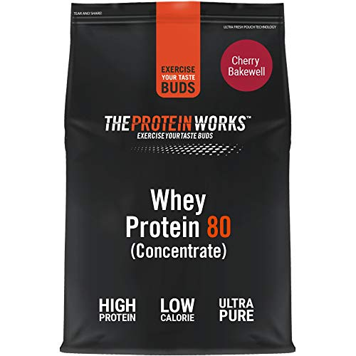 THE PROTEIN WORKS Whey Protein 80 (Concentrate) Powder | 82 Percent Protein | Low Sugar, High Protein Shake | Cherry Bakewell | 2 kg