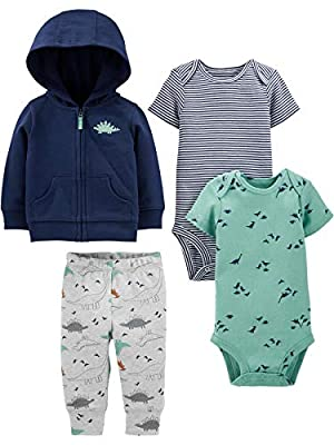 Simple Joys by Carter's Boys' 4-Piece Jacket, Pant, and Bodysuit Set, Navy Dino, 6-9 Months from Carter's Simple Joys - Private Label