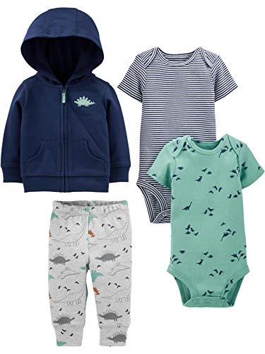 Simple Joys by Carter's Baby 4-Piece Jacket, Pant, and Bodysuit Set, Navy Dino, 3-6 Months