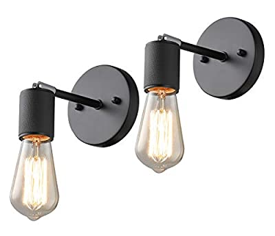 Industrial Wall Sconces Set of Two Wall Sconce Lighting 2 Pack, 180° Adjustable Small Wall Light, Black Farmhouse Sconces Wall Lighting, Mid Century Wall Lamp for Kitchen Bedroom Bedside Entrance