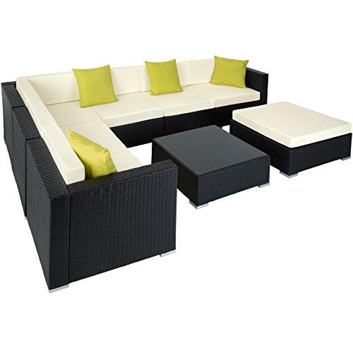 TecTake Aluminio POLIRATÁN Conjunto TRESILLO Muebles DE RATÁN Conjunto para JARDÍN Incl. Fijaciones (Negro   no. 401815)